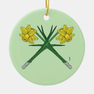 Ornamento De Cerâmica Daffodils cruzados