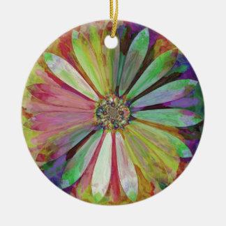 Ornamento De Cerâmica Daisy2 colorido abstrato