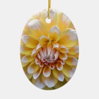Ornamento De Cerâmica Dália amarela e branca