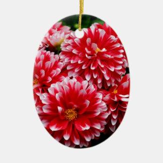 Ornamento De Cerâmica Dálias vermelhas & brancas