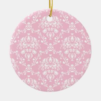 Ornamento De Cerâmica Damasco cor-de-rosa e branco