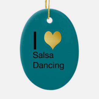 Ornamento De Cerâmica Dança Playfully elegante da salsa do coração de I