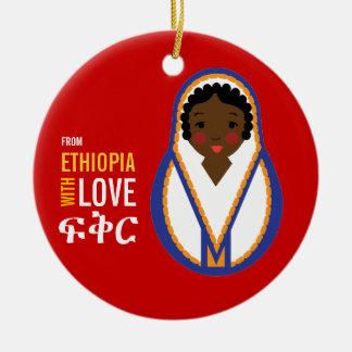 Ornamento De Cerâmica De Etiópia com a lembrança da adopção do amor