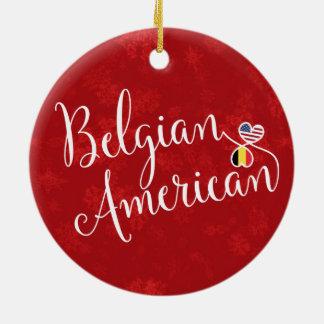 Ornamento De Cerâmica Decoração americana belga do feriado das bandeiras