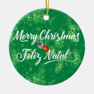Ornamento De Cerâmica Decoração americana portuguesa, Feliz natal