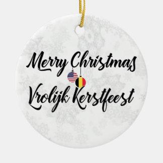 Ornamento De Cerâmica Decoração bilíngüe americana belga do feriado