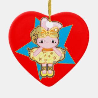 Ornamento De Cerâmica Decoração da árvore de Natal do coração com coelho