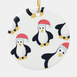 Ornamento De Cerâmica Decoração da árvore dos pinguins do Natal