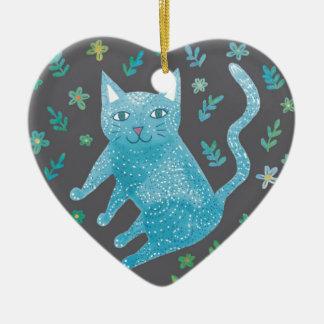 Ornamento De Cerâmica Decoração do coração do gato