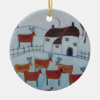 Ornamento De Cerâmica Decoração do Natal com arte da paisagem do inverno