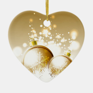 Ornamento De Cerâmica Decoração marrom dourada do ano novo com neve