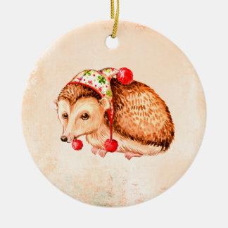 Ornamento De Cerâmica Decoração redonda do Natal do ouriço bonito
