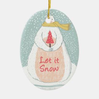 Ornamento De Cerâmica Deixais lhe para nevar Natal bonito