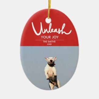 Ornamento De Cerâmica Desencadeie a foto engraçada e bonito de   do cão
