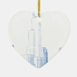 Ornamento De Cerâmica Desenho abstrato do No1 de Chicago