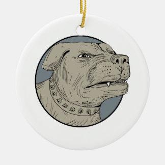 Ornamento De Cerâmica Desenho agressivo da cabeça de cão da guarda de