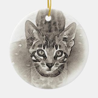 Ornamento De Cerâmica Desenho bonito do gatinho de Bengal