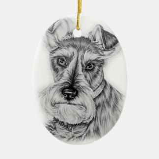 Ornamento De Cerâmica Desenho da arte do cão do Schnauzer