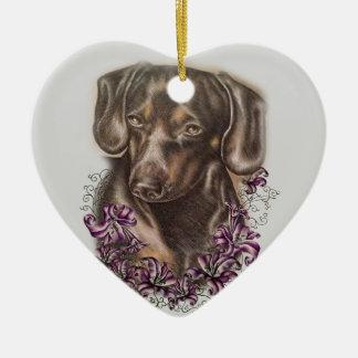 Ornamento De Cerâmica Desenho da arte do cão e dos lírios do Dachshund