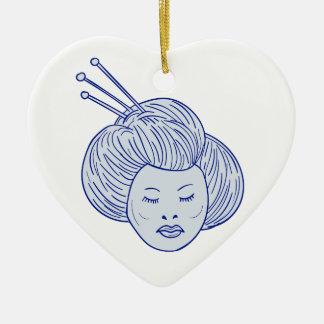 Ornamento De Cerâmica Desenho da cabeça da menina de gueixa
