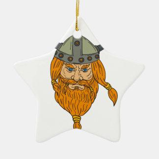 Ornamento De Cerâmica Desenho da cabeça do guerreiro de Viking do