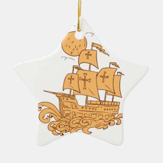 Ornamento De Cerâmica Desenho da lua do navio de navigação de Caravel