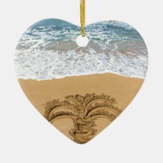 Ornamento De Cerâmica Desenho da palmeira no Sandy Beach