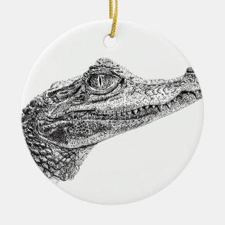 Ornamento De Cerâmica Desenho da tinta do crocodilo do bebê