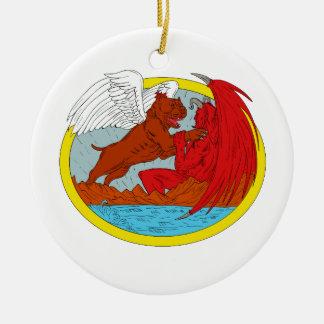 Ornamento De Cerâmica Desenho de combate da satã do cão americano da