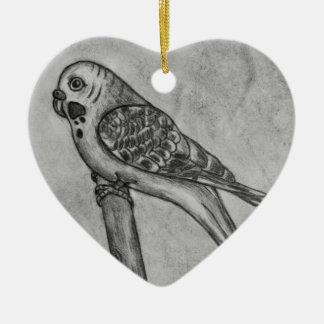 Ornamento De Cerâmica Desenho de lápis do Parakeet que senta-se na vara