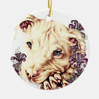 Ornamento De Cerâmica Desenho de Pitbull branco com lírios