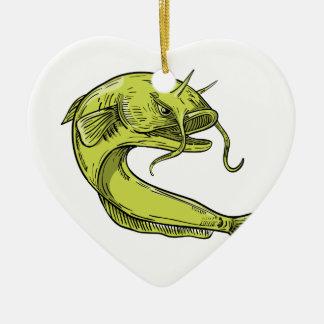 Ornamento De Cerâmica Desenho de salto do peixe-gato do diabo
