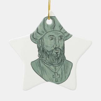 Ornamento De Cerâmica Desenho do busto do explorador de Vasco da Gama
