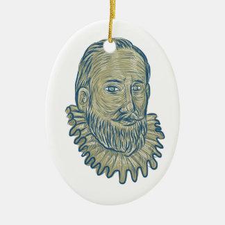 Ornamento De Cerâmica Desenho do busto do senhor Walter Raleigh