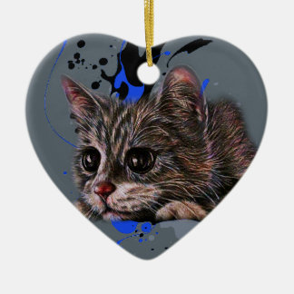 Ornamento De Cerâmica Desenho do gatinho como o gato com arte da pintura