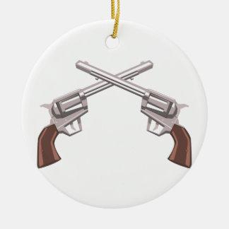 Ornamento De Cerâmica Desenho do revólver da pistola isolado em