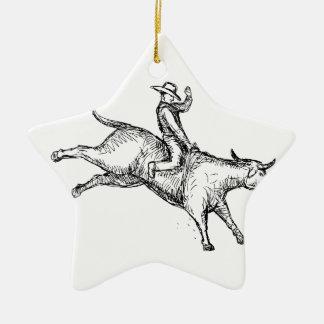 Ornamento De Cerâmica Desenho do vaqueiro do rodeio da equitação de Bull