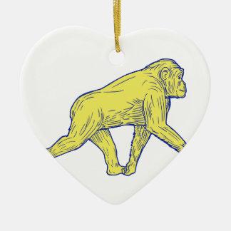 Ornamento De Cerâmica Desenho lateral de passeio do chimpanzé