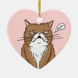 Ornamento De Cerâmica Desenho mal-humorado engraçado do gato de Meh
