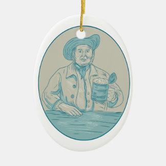 Ornamento De Cerâmica Desenho oval da caneca para cerveja do bebedor de