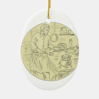 Ornamento De Cerâmica Desenho oval da cozinha medieval do cozinheiro