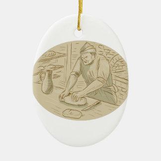 Ornamento De Cerâmica Desenho oval de amasso da massa de pão do padeiro