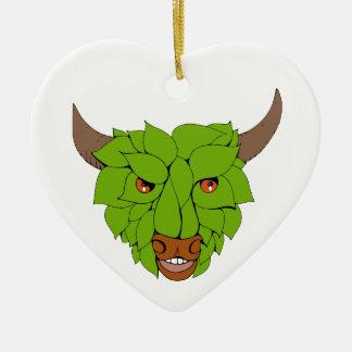 Ornamento De Cerâmica Desenho principal verde de Bull