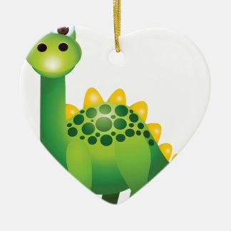 Ornamento De Cerâmica Desenhos animados bonitos do dinossauro verde