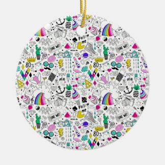 Ornamento De Cerâmica Desenhos animados brancos do esboço do arco-íris