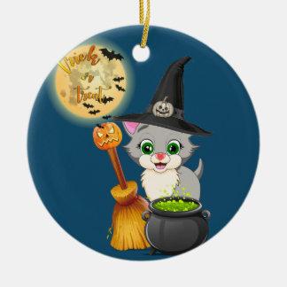 Ornamento De Cerâmica Desenhos animados cinzentos do Dia das Bruxas do