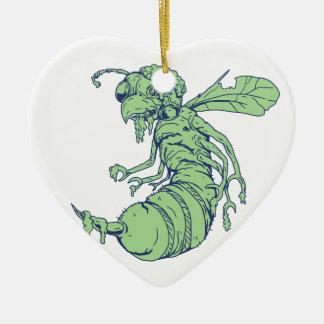 Ornamento De Cerâmica Desenhos animados da abelha do zombi