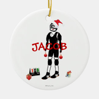 Ornamento De Cerâmica Desenhos animados da luta do Natal