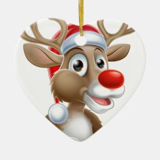 Ornamento De Cerâmica Desenhos animados da rena do Natal com chapéu do