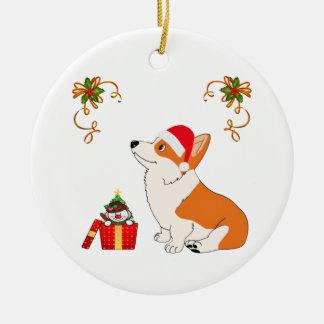 Ornamento De Cerâmica Desenhos animados do Corgi de HolidayWelsh